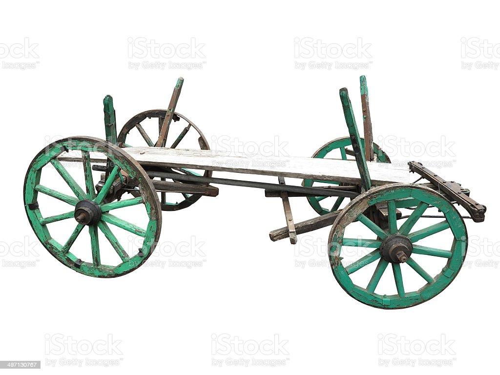 Vintage antigo jogo de madeira carrinho isolado a branco foto de stock royalty-free