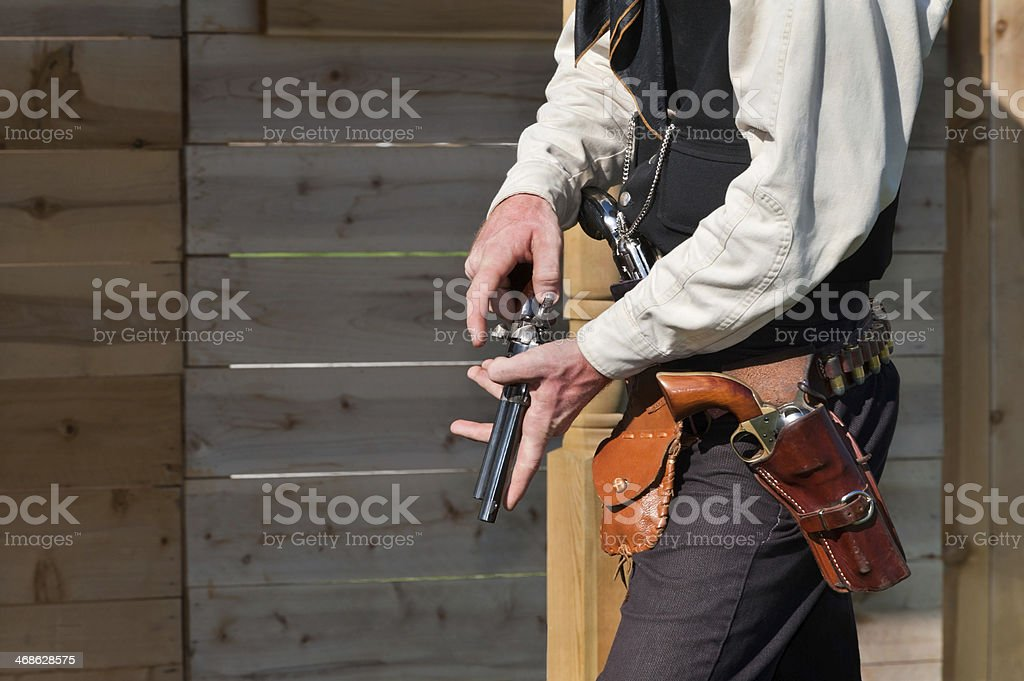 Vintage Old West Lawman with Revolvers stock photo