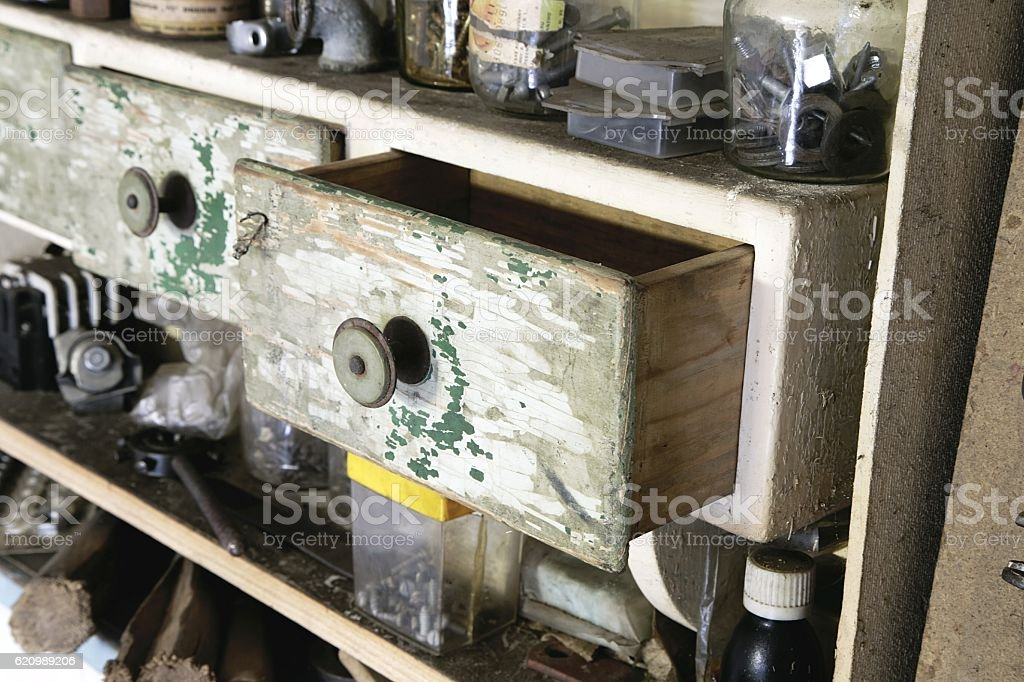 Vintage old wooden drawer stock photo