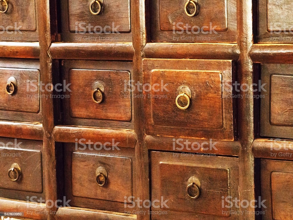 Vintage old wooden drawers. Retro style of wood cabinet. stock photo