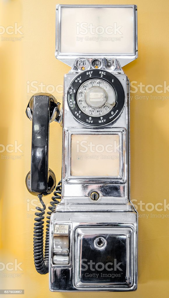 Vintage, old-style, retro, coin operated, pay telephone from the past. stock photo