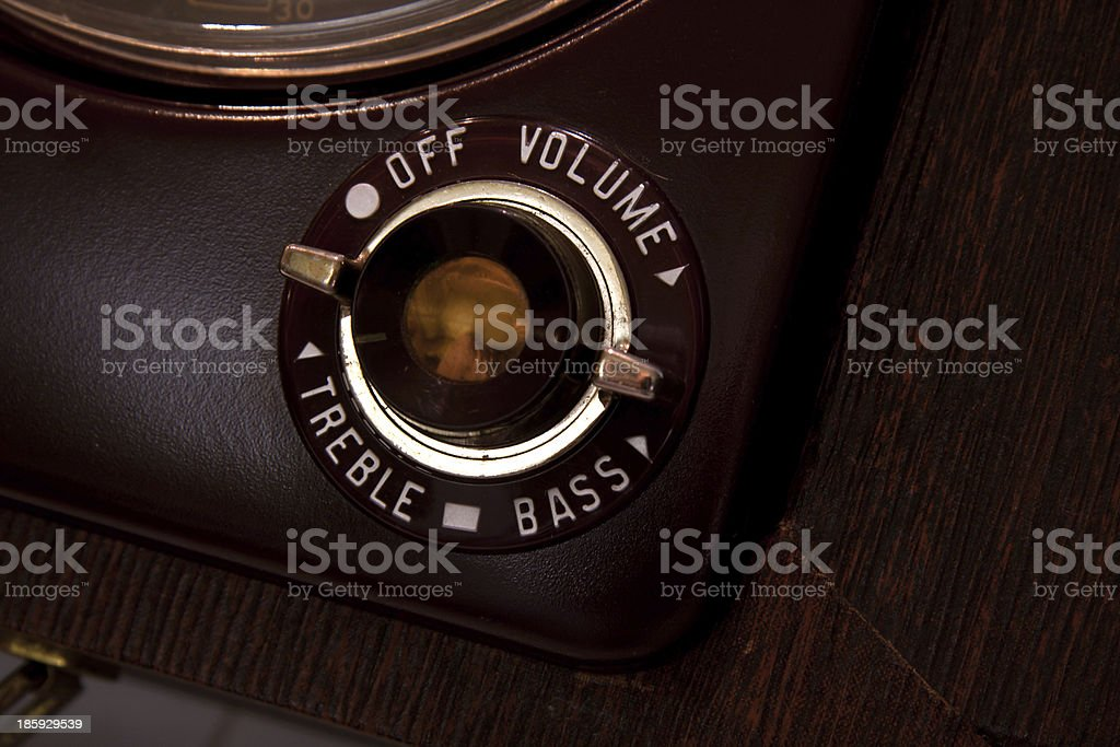 Vintage on off button from old tube reel recorder stock photo