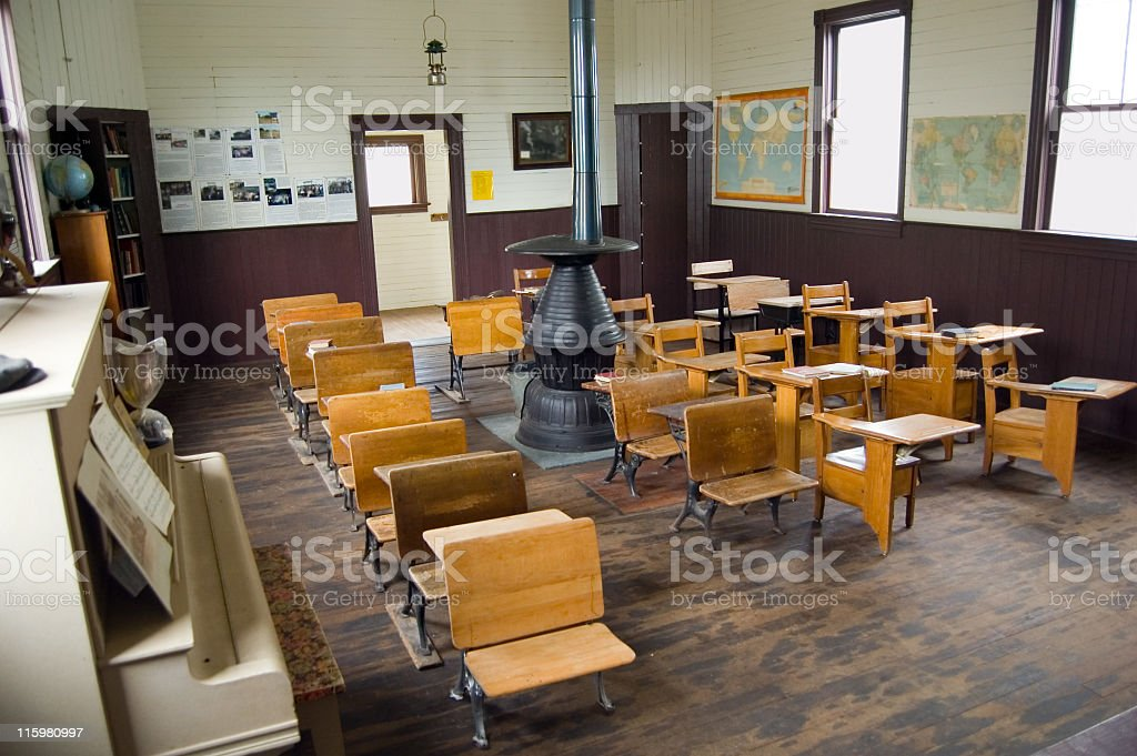 Vintage One Room Schoolhouse stock photo