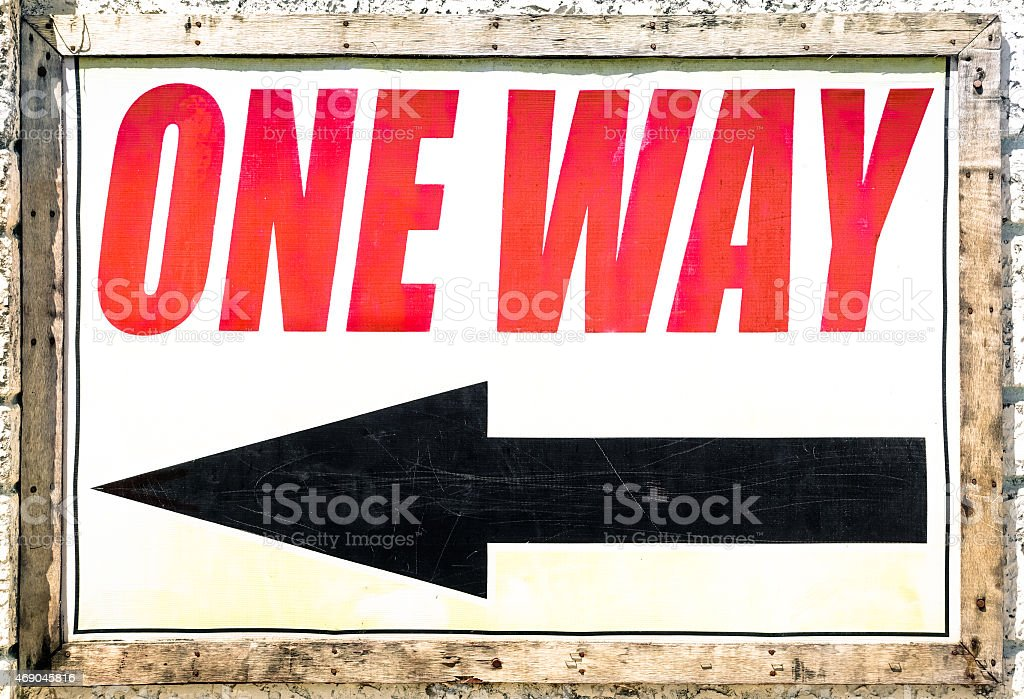 Vintage One Way Sign With Black Arrow Showing The Direction Stock