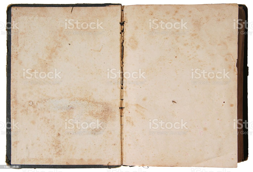 Vintage open book on isolated background royalty-free stock photo
