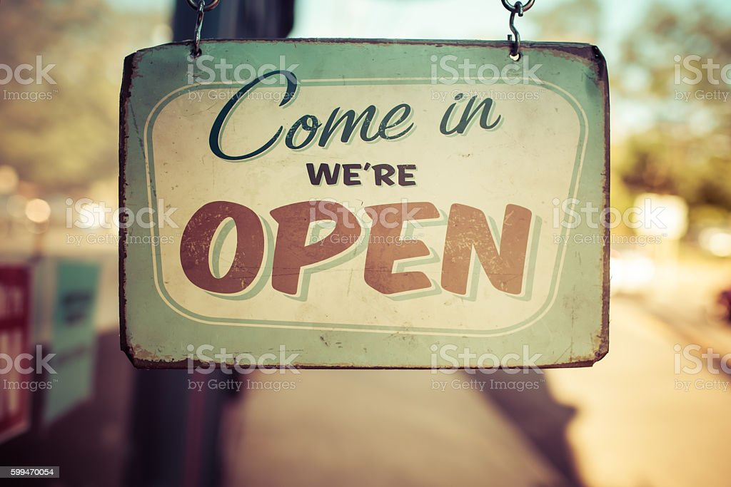 Vintage open for business sign stock photo