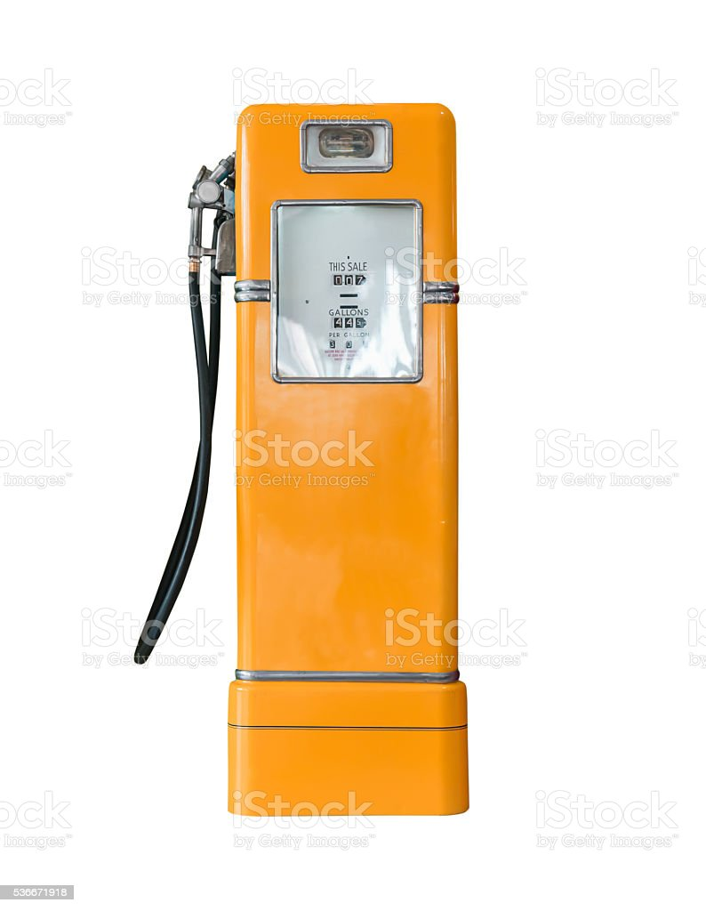 Vintage orange fuel pump on white stock photo