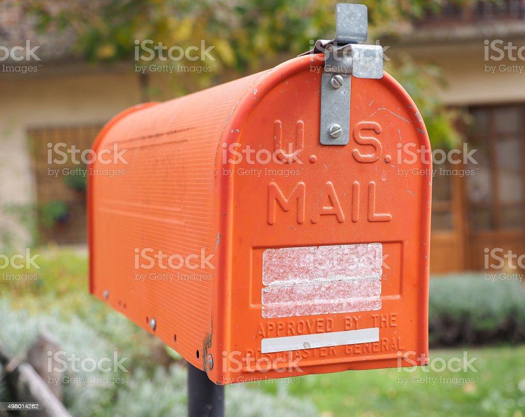 US vintage orange mail box stock photo