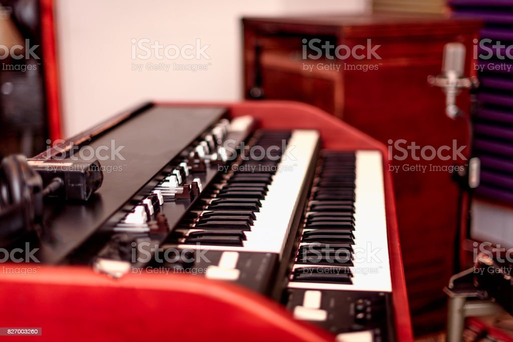 Vintage Organ and speaker stock photo
