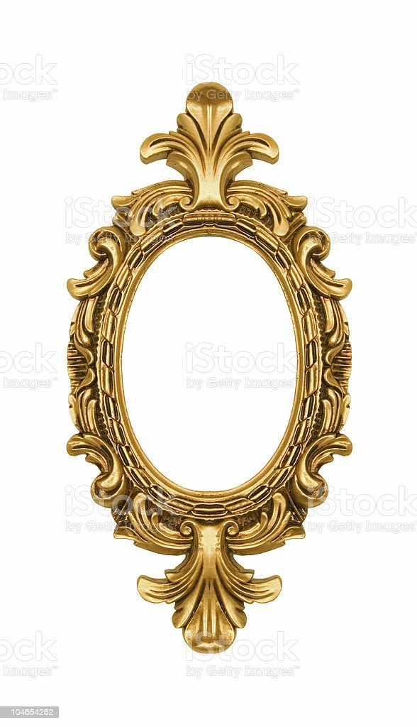 Vintage oval gold ornate frame royalty-free stock photo
