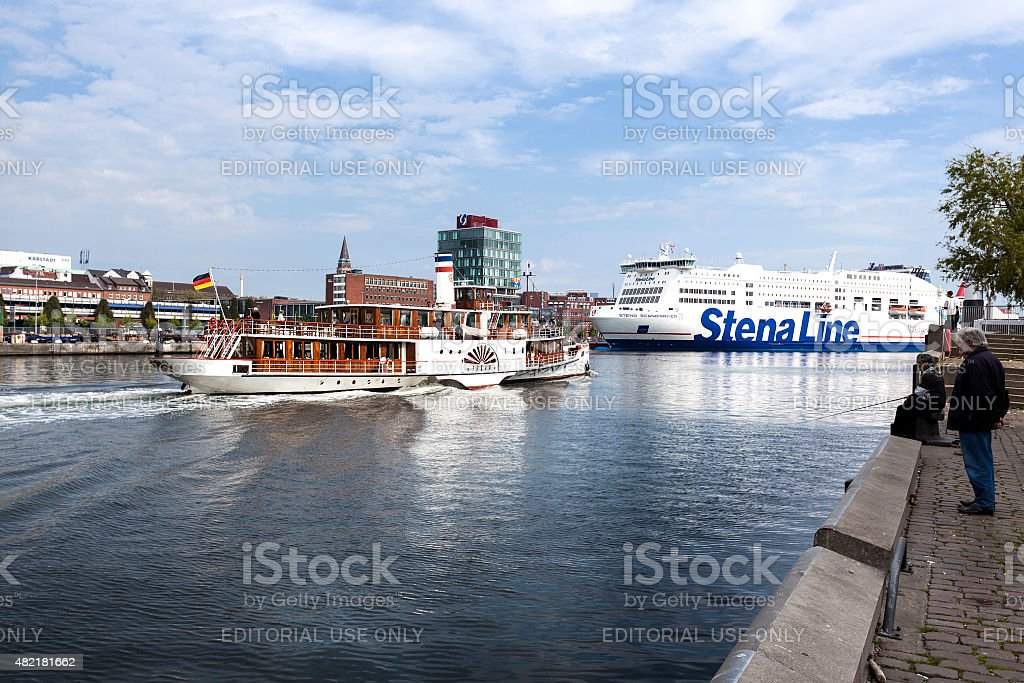 Vintage paddlesteamer and Ferryboat stock photo