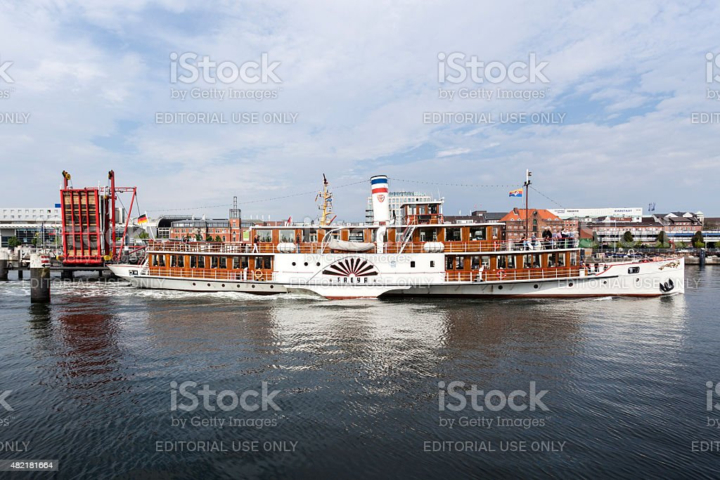 Vintage paddlesteamer FREYA in the harbor of Kiel, Germany stock photo
