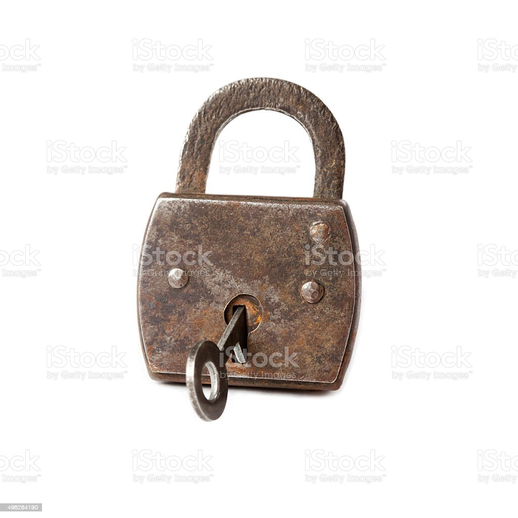Vintage padlock with key, hanging lock macro view. white background stock photo