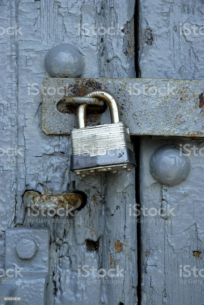 Vintage Padlocked Door Close Up royalty-free stock photo