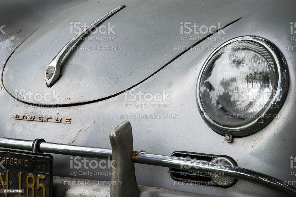 Vintage Paint-Chipped Silver Porsche Speedster stock photo