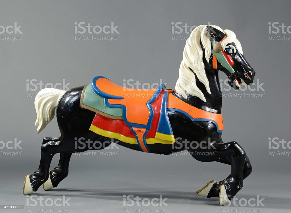 Vintage Painted Metal Carousel Horse stock photo