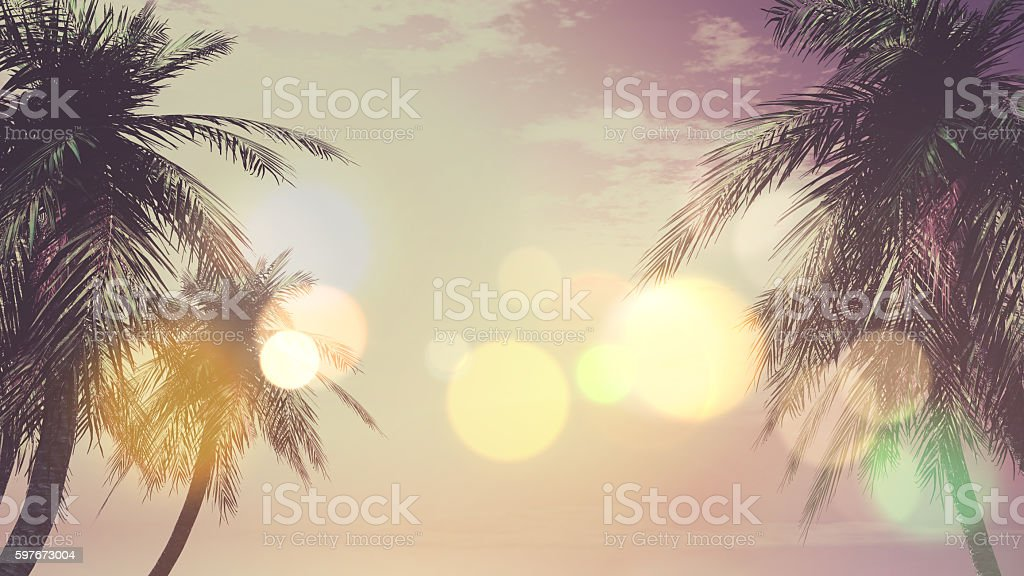 3D vintage palm tree landscape stock photo
