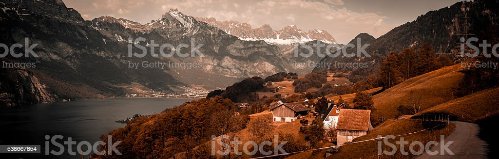 Vintage panorama in Swiss Alps stock photo