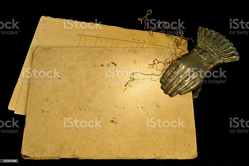 Vintage paper and clothespin royalty-free stock photo