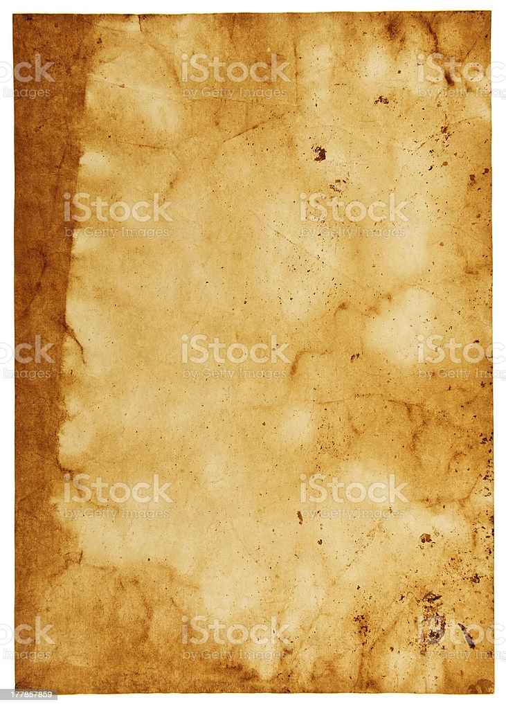 Vintage paper background isolated on white royalty-free stock photo