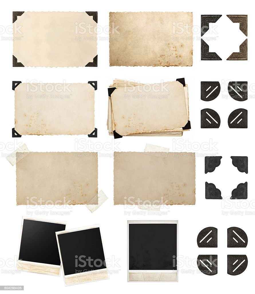 vintage paper card with corners and tapes, photo cardboard stock photo