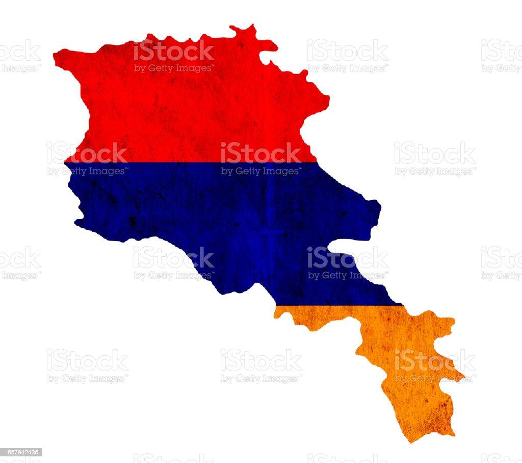 Vintage paper map of Armenia stock photo