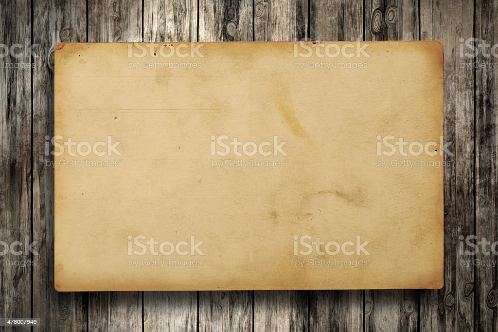 Vintage Paper on wood backgrounds stock photo