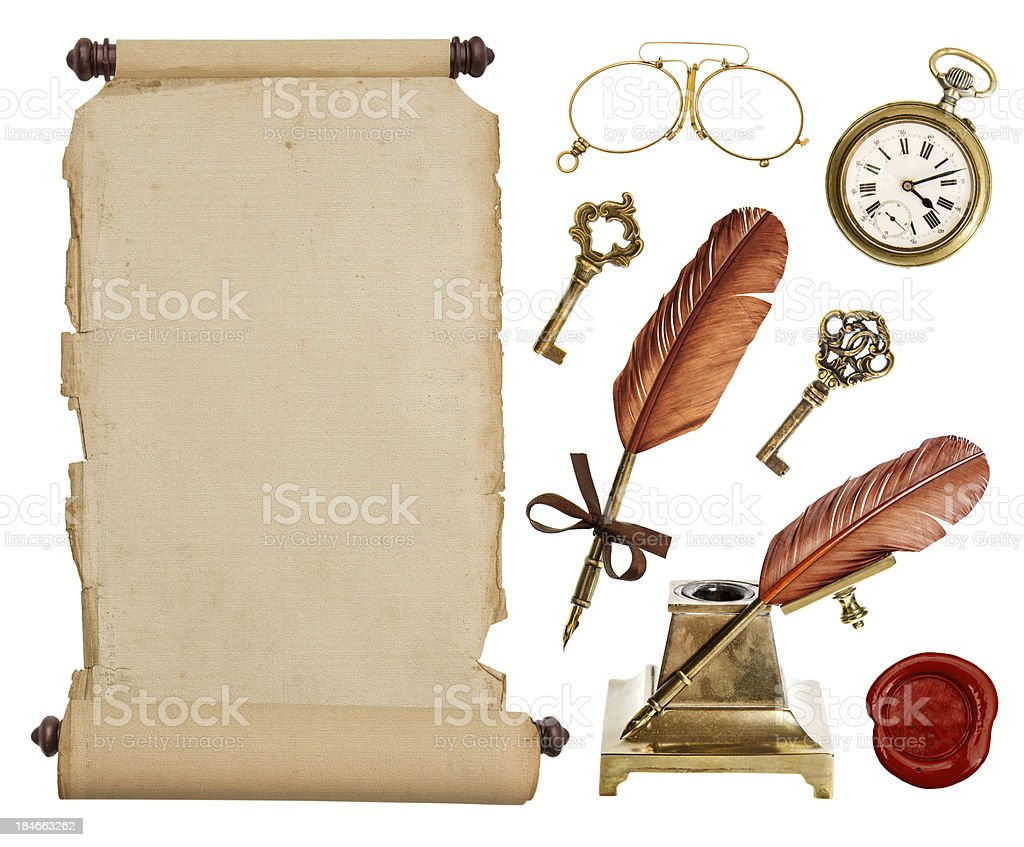 vintage paper scroll and antique accessories stock photo