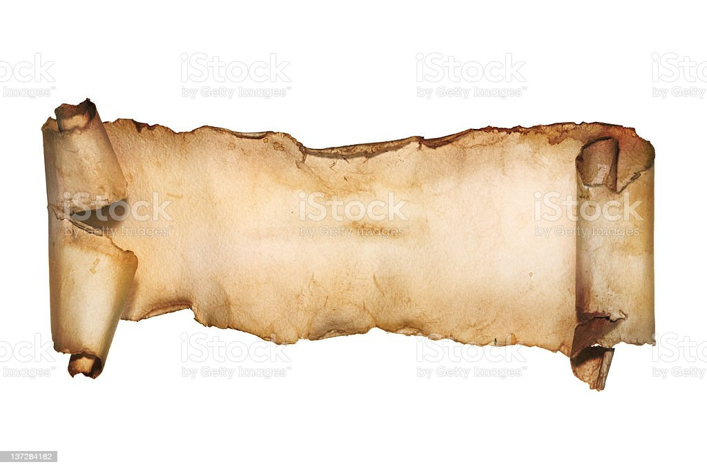 Vintage paper scroll isolated on white. stock photo