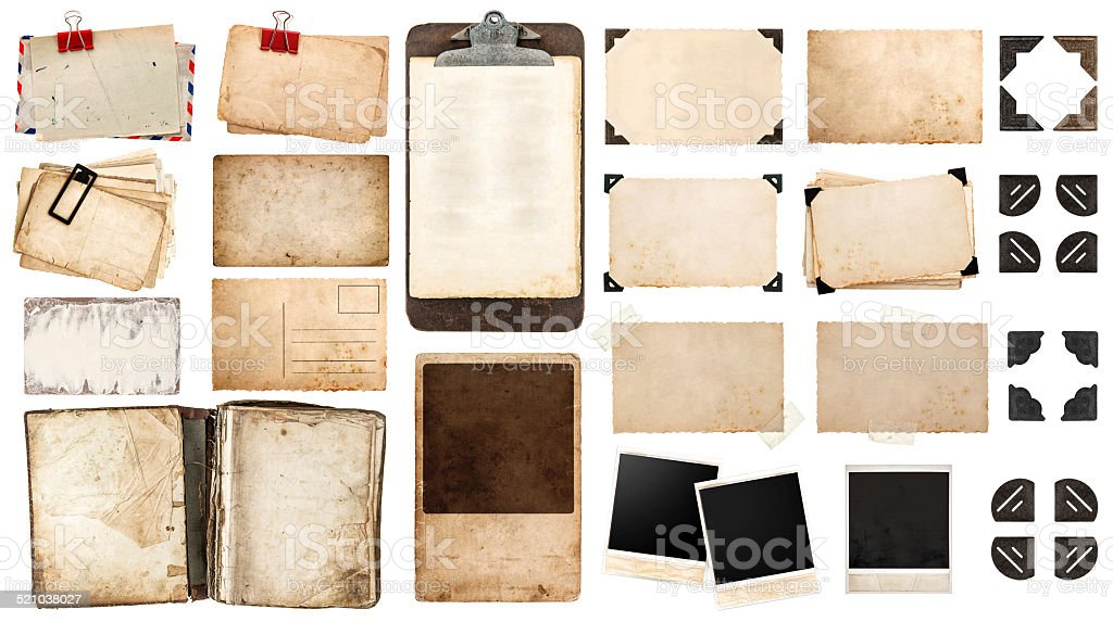 vintage paper sheets, book, old photo frames and corners, antiqu stock photo
