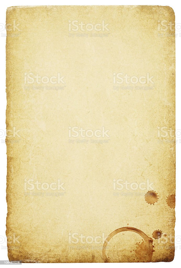 Vintage paper with coffee rings stain. stock photo