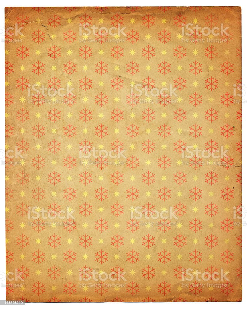 vintage paper with snowflake design royalty-free stock photo