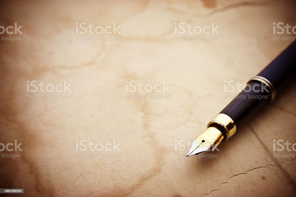 Vintage papers and pen stock photo