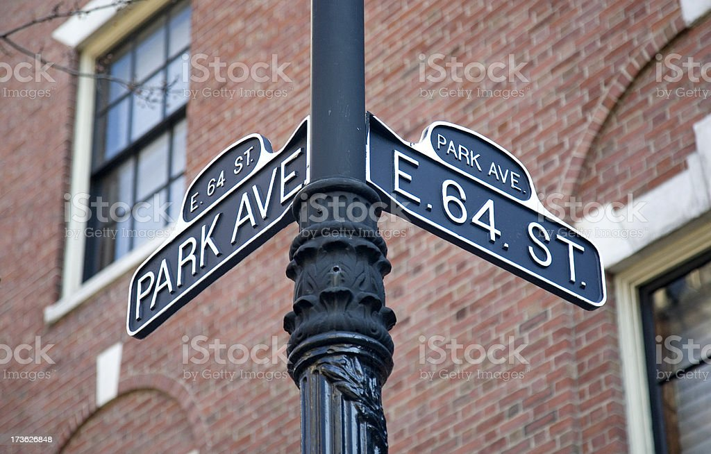 Vintage Park Avenue Street Sign In New York stock photo