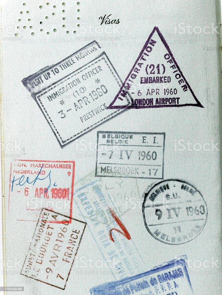 Vintage Passport Stamps royalty-free stock photo