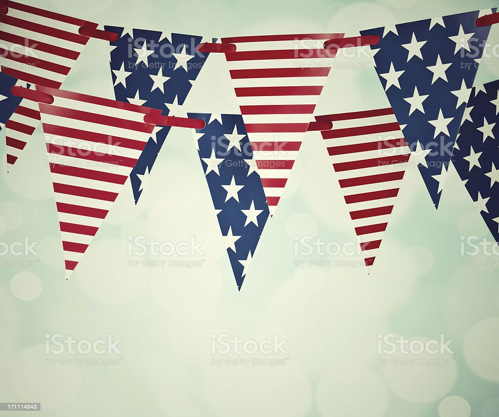 Vintage Patriotic Party Flags stock photo
