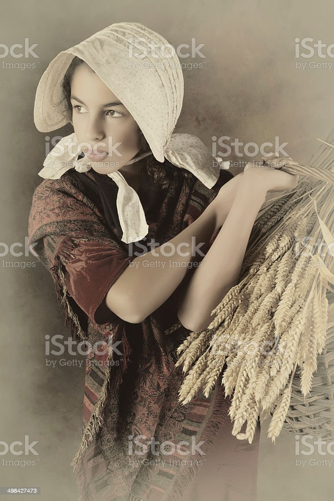 Vintage peasant girl stock photo