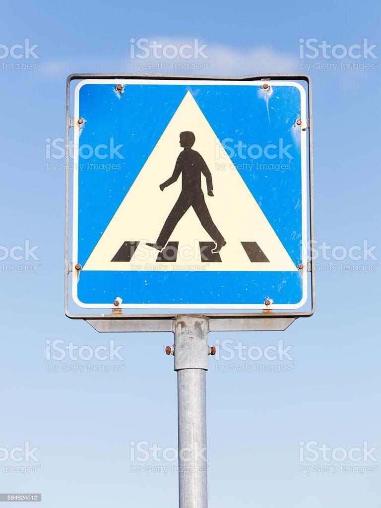 Vintage pedestrian transit traffic sign stock photo