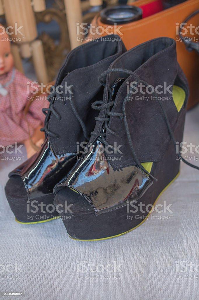 Vintage peep toe platform wedges on flea market stock photo