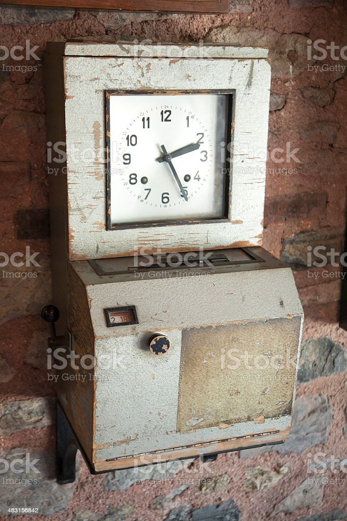vintage personel attendance control box stock photo