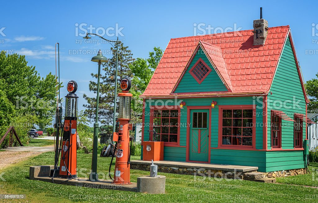 Vintage Phillips 66 Gas Station stock photo
