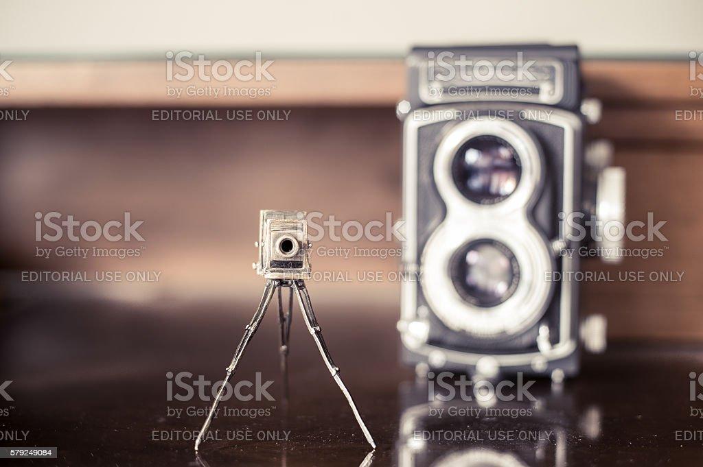 Vintage photo cameras collector desktop stock photo
