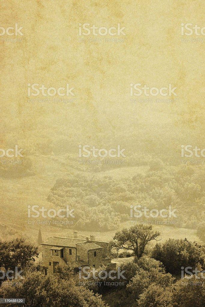 Vintage photo: Farm in Tuscany royalty-free stock photo