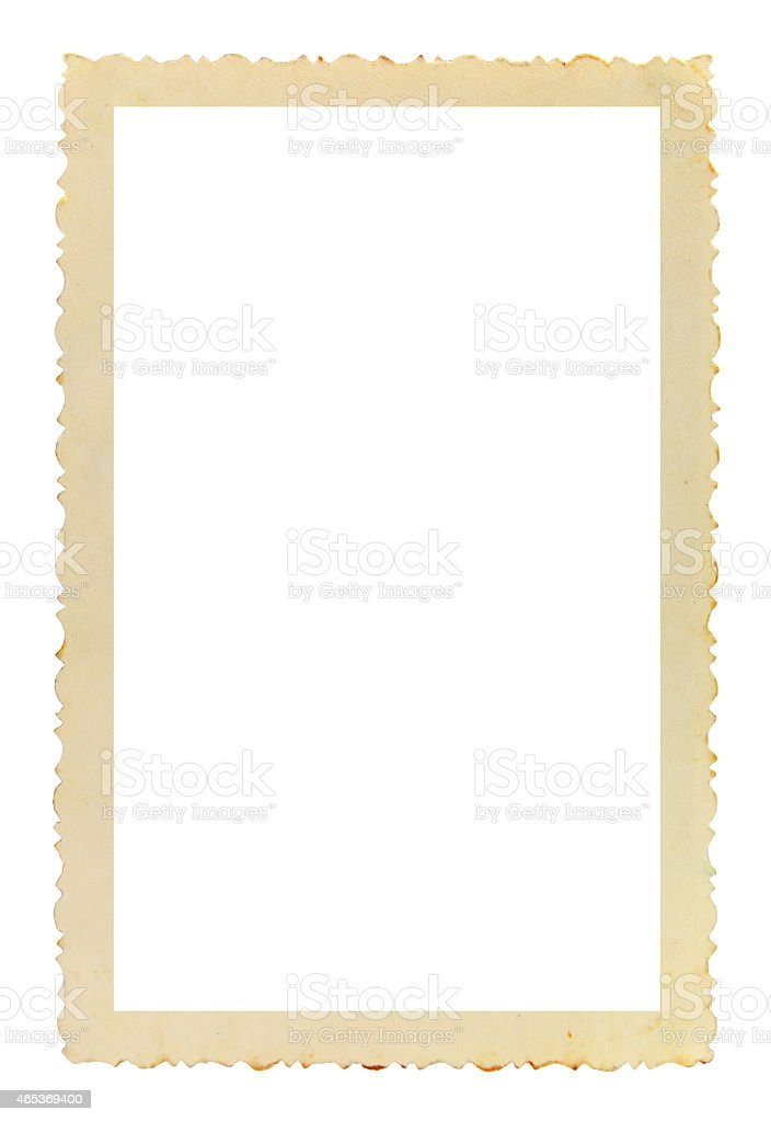 Vintage photo frame on white background stock photo