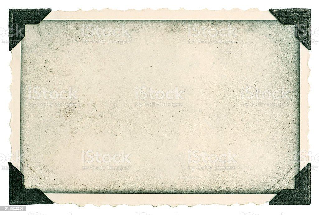 Vintage photo frame with corner and edges stock photo