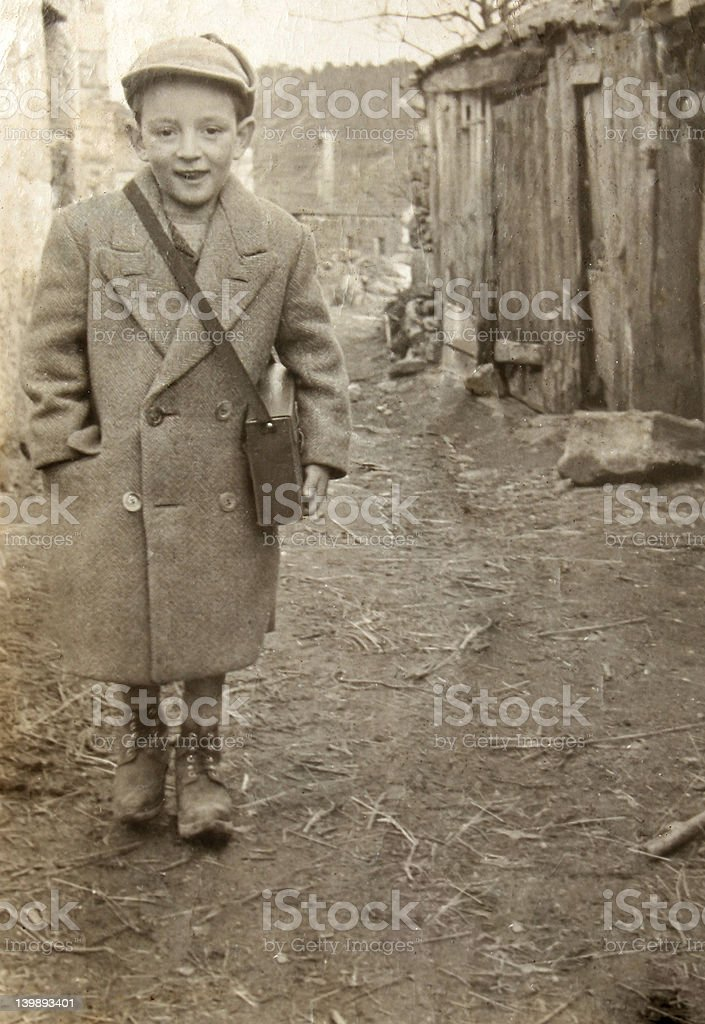 Vintage photo of a boy in Europe stock photo