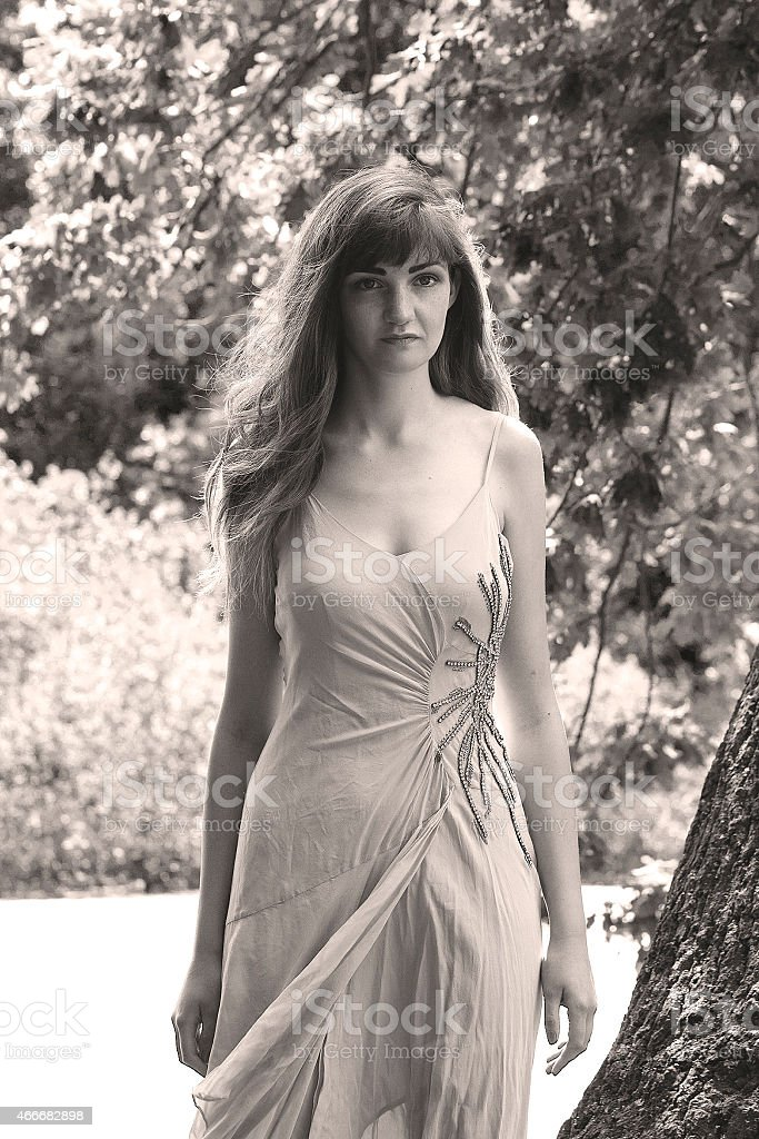 Foto d'epoca di una giovane signora foto stock royalty-free