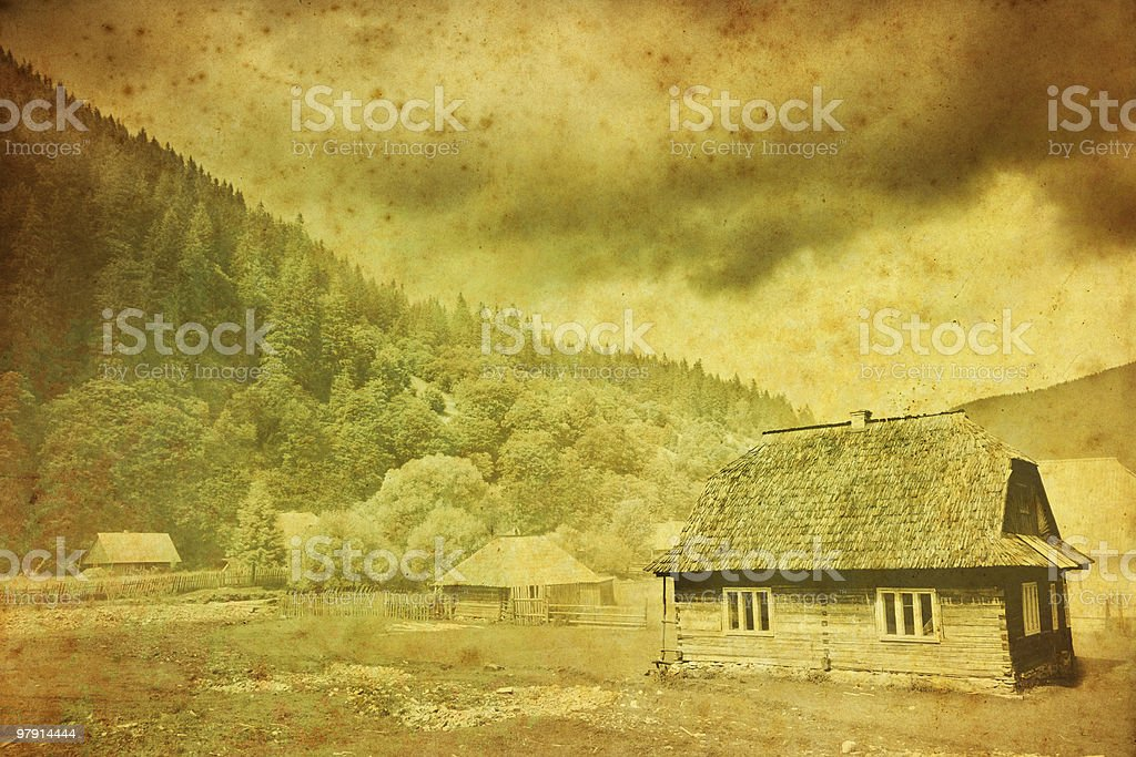 vintage photo of an old hut royalty-free stock photo