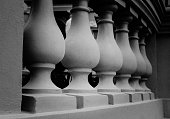 Vintage photo of balusters on the balustrade