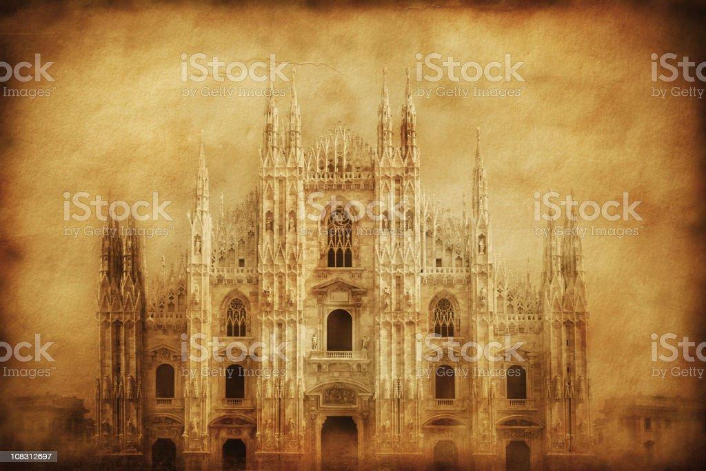 Vintage photo of Duomo in Milan stock photo